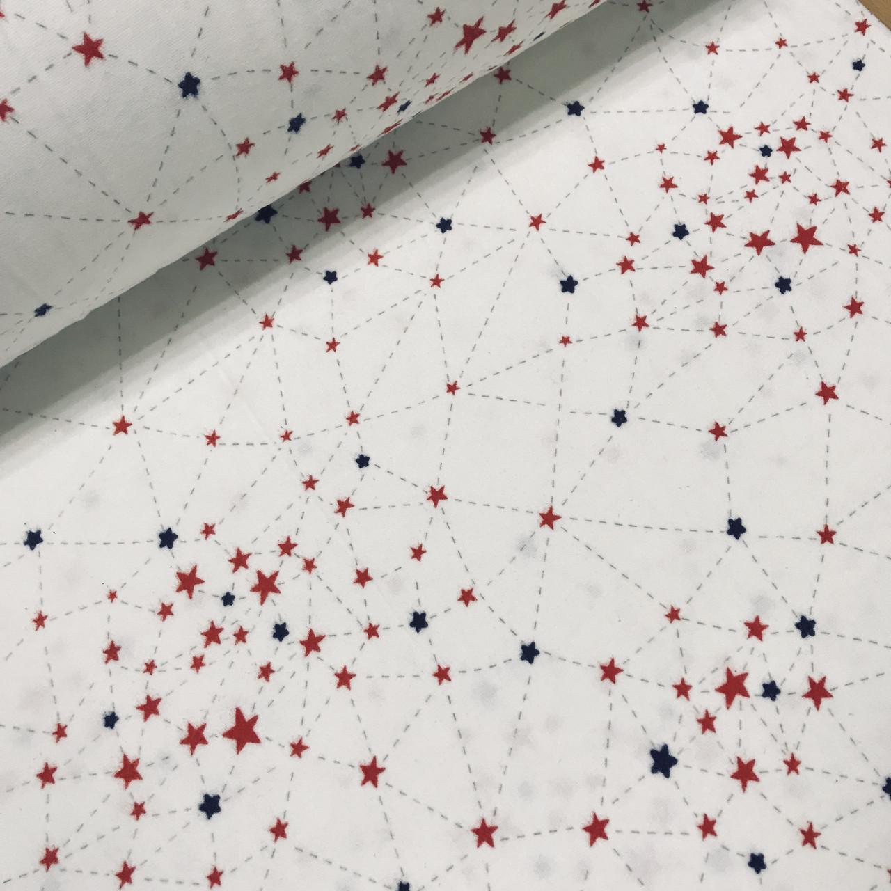 Фланелевая ткань созвездия сине-красные на белом (шир. 2,4 м)