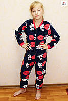 Пижама детская теплая для девочки синяя флисовая 34-42 р.