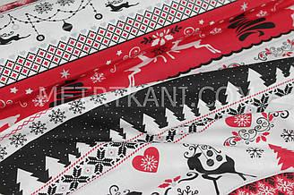 """Новогодняя ткань  """"Рождественские гирлянды и олени на полосах """" красно-белых № 440"""