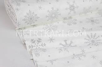 """Ткань для постельного белья ранфорс Турция 240 см  """" Большие снежинки  """" серые на белом  № WH-1550-2"""