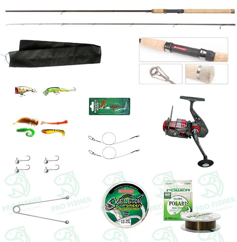 """Набір риболовний все в одному """"Щука-окунь 4-18гр"""" для ловлі хижака, готовий до використання"""