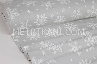 """Ткань для постельного белья ранфорс Турция 240 см  """" Большие снежинки  """" белые на светло-сером  № WH-1550-3"""