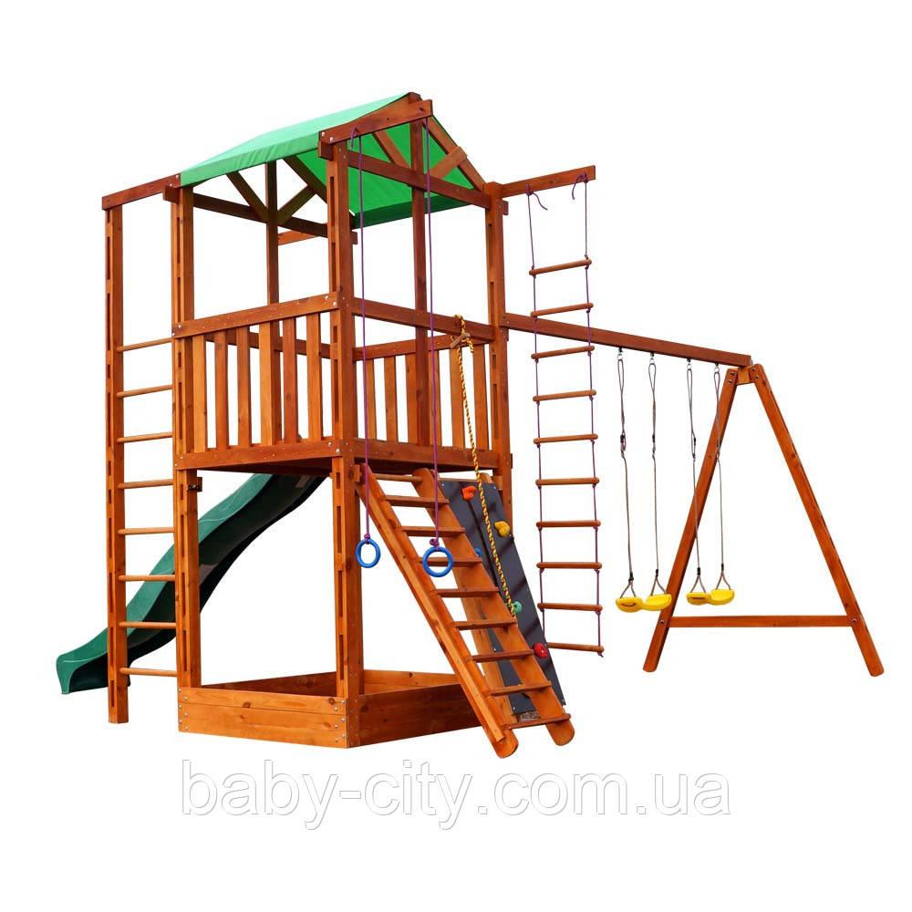 Детский игровой деревянный комплекс-домик с качелями Babyland-6