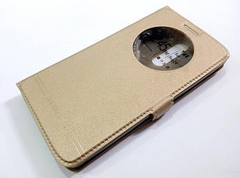 Чехол книжка с окошком momax для LG G3 stylus d690 золотой
