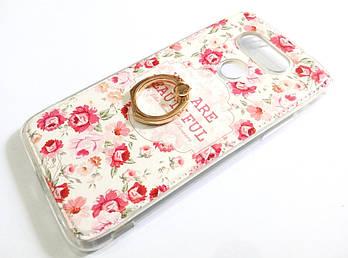 Чехол с кольцом для LG G5 силиконовый с рисунком цветы маленькие розы