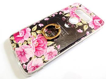 Чехол с кольцом для LG G5 силиконовый с рисунком цветы розы темный