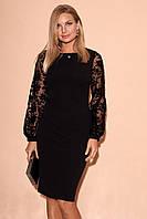 Вечернее платье черного цвета с рукавами из сетки. Модель 23328. Размеры 42-46