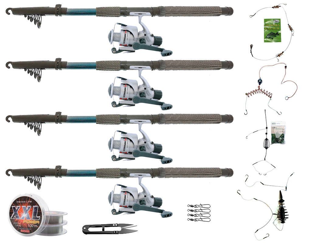 """Набір риболовний все в одному """"Чотири донки"""" для ловлі карася, готовий до використання"""
