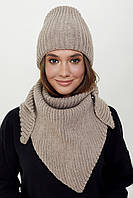Модный вязаный набор шапка+ косынка