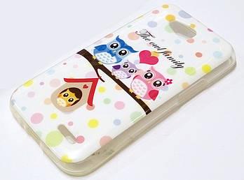 Чехол детский для LG L90 D410 / D405 силиконовый с рисунком совы