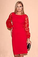 Вечернее платье миди красного цвета с рукавами из сетки. Модель 23355. Размеры 42-46