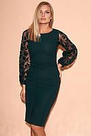 Вечернее платье темно-зеленого цвета с рукавами из сетки. Модель 23343. Размеры 42-46