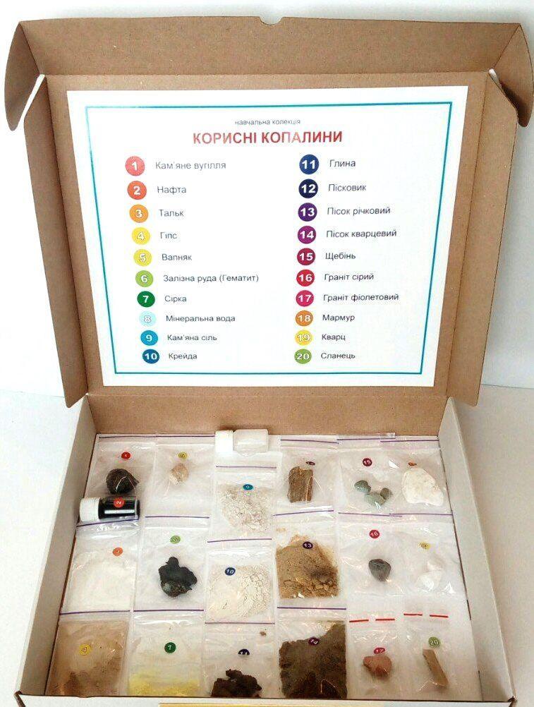 Колекція «Корисні копалини та продукти їх переробки» для початкової школи