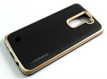 Чехол противоударный Motomo для LG K8 k350n/e черный с золотым