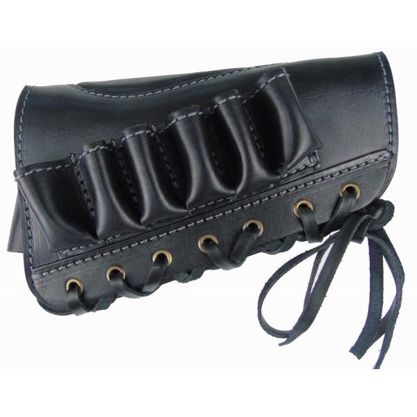 Патронташ Медан 2003 кожаный на приклад 12к*6 патронов (черный/коричневый)
