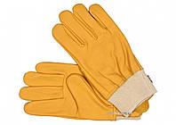 Рукавиці робочі жовті з текстильним стягувачем YATO шкіра розмір 10