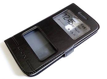 Чехол книжка с окошками для LG K10 k420 / k430ds черный