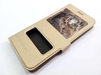Чехол книжка с окошками momax для Meizu M2 золотой