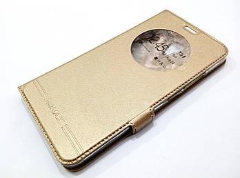 Чехол книжка с окошком momax для Meizu M3e золотой