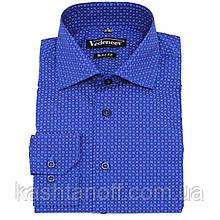 Рубашка синего цвета в голубой принт