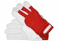 Рукавиці робочі біло-червоні YATO бавовна + шкіра розмір 10