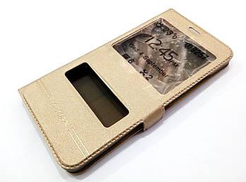Чехол книжка с окошками momax для Meizu M3x золотой