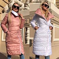 Куртка стильная двусторонняя длинная женская зимняя