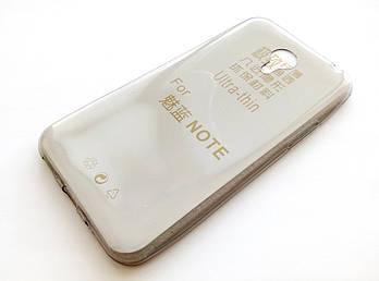 Чехол для Meizu M1 Note силиконовый ультратонкий прозрачный серый