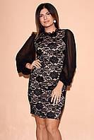 Вечернее платье из гипюра с объемными шифоновыми рукавами. Модель 23322. Размеры 48-54