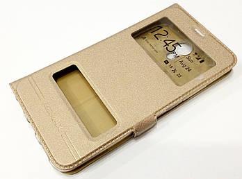 Чехол книжка с окошками momax для Meizu M3 Note золотой
