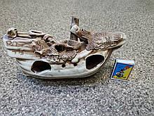 С62 Керамическая декорация для аквариума Корабль средний