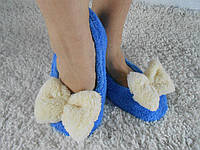 Домашние женские уютные женские махровые тапочки-балетки с объемным махровым бантиком. Арт-4813 голубые