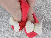 Домашние женские уютные женские махровые тапочки-балетки с объемным махровым бантиком. Арт-4813 коралловые