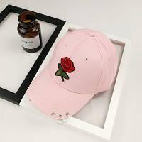 Жіноча літнє кепка з Трояндою рожева, фото 1