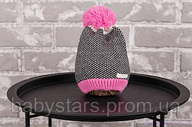 """Вязаная шапка на девочку """"Ray"""", розовая"""
