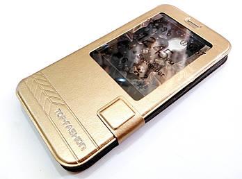 Чехол книжка с окошком momax для Meizu MX5 золотой