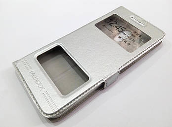 Чехол книжка с окошками momax для Meizu Pro 6 серебряный