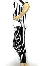 Жіночі чорні в білу полоску брюки з високою талією, фото 2