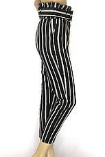 Жіночі чорні в білу полоску брюки з високою талією, фото 3