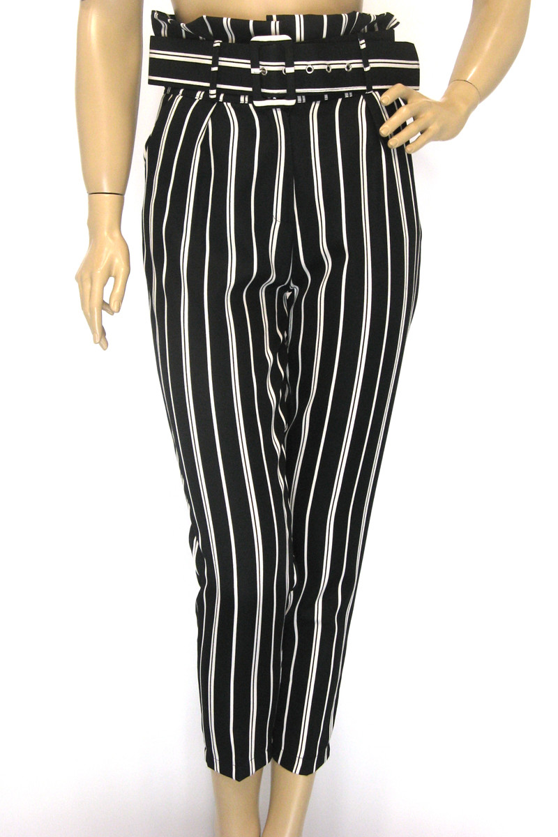 Жіночі чорні в білу полоску брюки з високою талією
