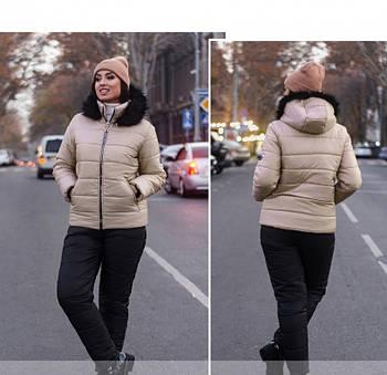 / Размер 50,52,54,56,58,60,62 / Женский очень тёплый костюм-двойка большого размера / 815-Пудра