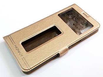 Чехол книжка с окошками momax для Meizu E3 золотой