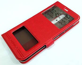 Чехол книжка с окошками momax для Meizu M6T красный
