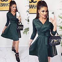 Замшевое платье зеленого цвета S-M, M-L р.