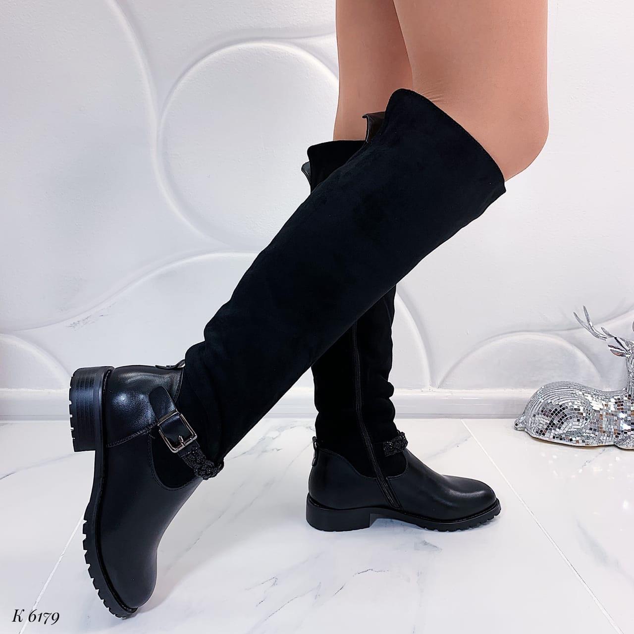 ТОЛЬКО 38 р! Женские сапоги / ботфорты с ремешком черные ЗИМА эко-кожа+ замш