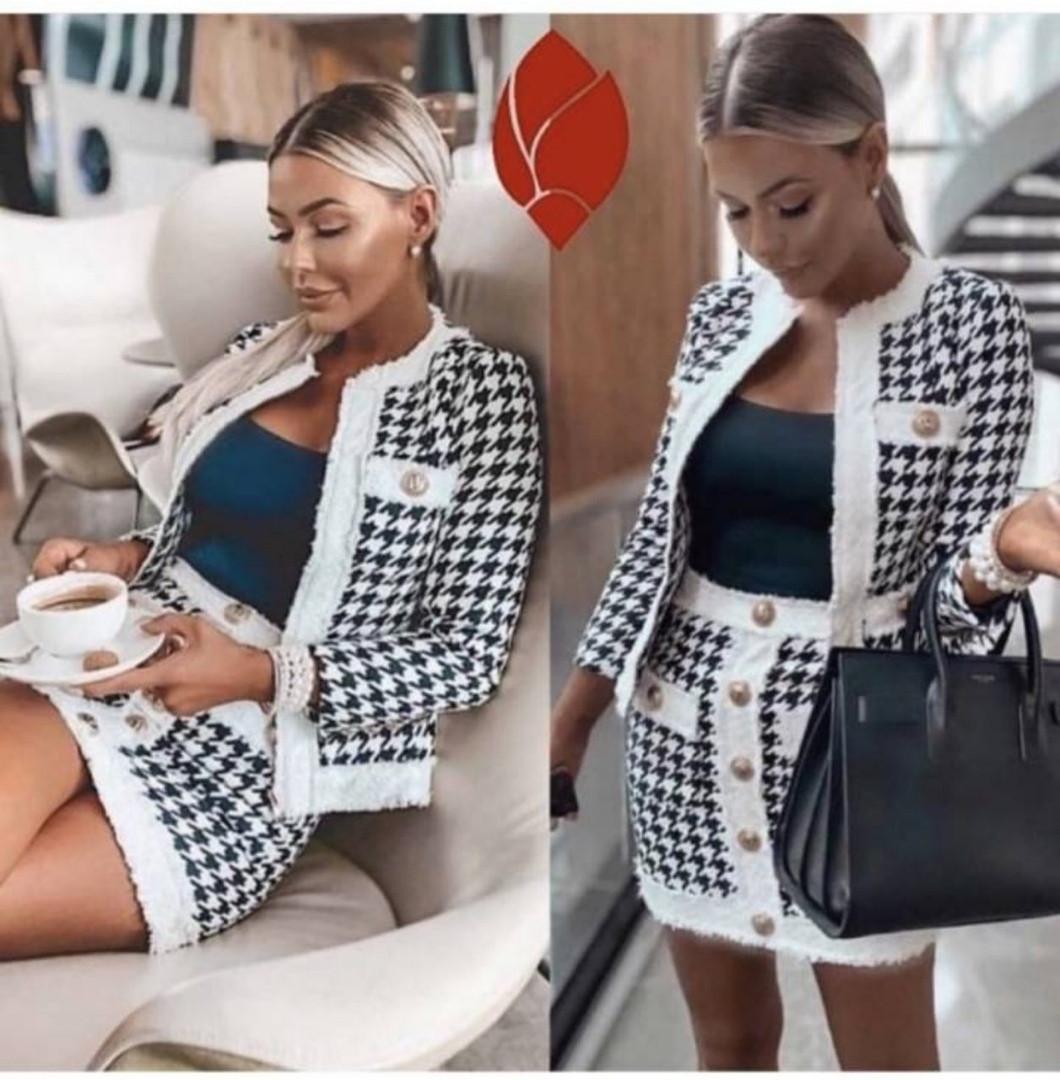 Костюм двойка женский, повседневный, гусиная лапка, короткий пиджак и юбка, офисный, модный, стильный, эффектн