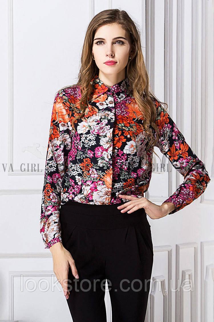 Блуза жіноча / сорочка з квітами на чорному тлі S