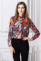 Блуза жіноча / сорочка з квітами на чорному тлі S, фото 1