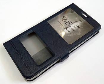 Чехол книжка с окошками momax для Meizu Note 8 синий
