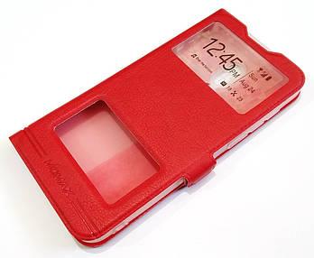 Чехол книжка с окошками momax для Meizu 16 красный
